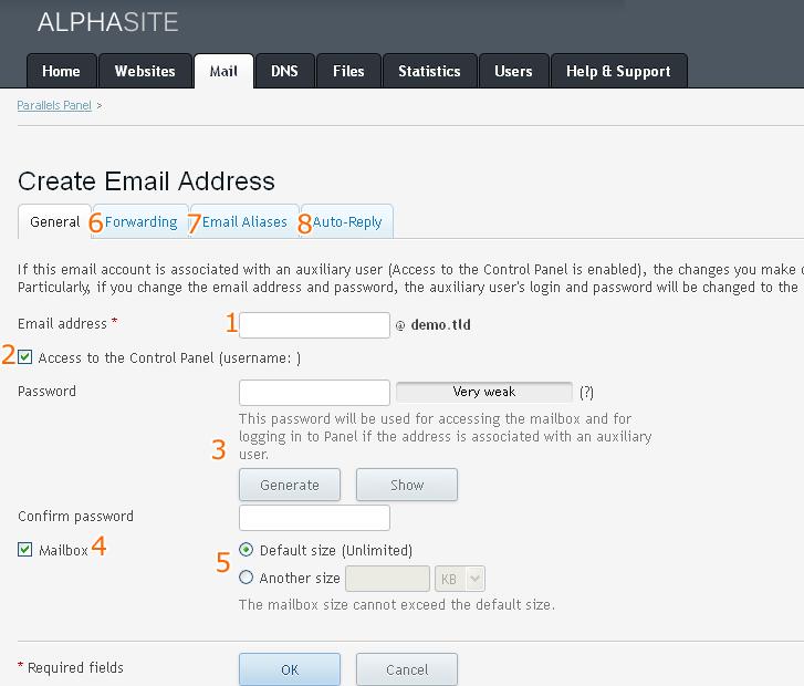 Plesk kontrolpanel e-mail
