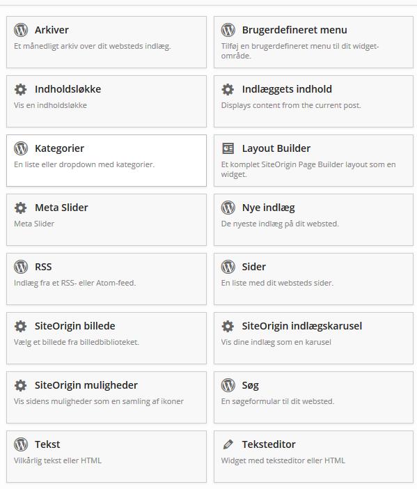 Tilføj Widget til Page builder række